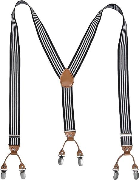 Dame Frauen Einstellbare 2,4 cm breiter Metallklammer Elastic Hosenträger Weiß