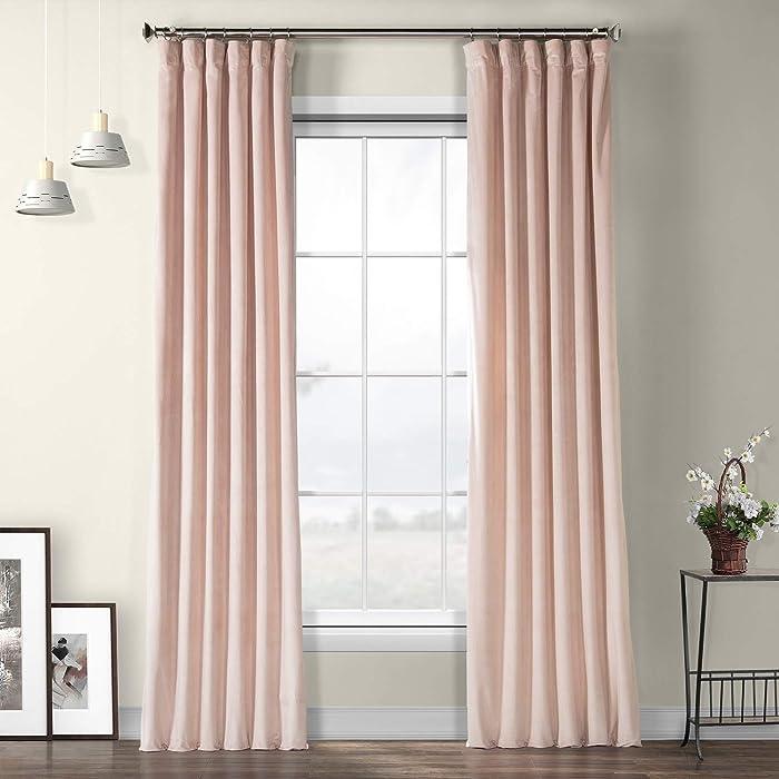 VPYC-161207-96 Heritage Plush Velvet Curtain, 50 x 96, Ballet Pink