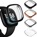 ZEBRE [4-Pack] Screen Protector Case Compatible with Fitbit Sense/Versa 3, TPU Rugged Bumper Case Cover All-Around…