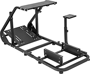 Marada Racing Cockpit Frame Compatible with G25 G27 G29 G920 T500 FANTEC T3PA/TGT Height Adjustable Racing Wheel Stand Wheels Pedals and Real Racing Seat Driving Simulator Cockpit Not Included