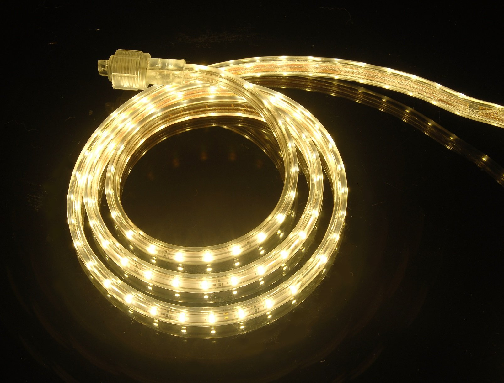 CBConcept UL Listed, 100 Feet, 10100 Lumen, 3000K Warm White, Dimmable, 120V AC Flexible Flat LED Strip Rope Light, 1830 Units 3528 SMD LEDs, Indoor Outdoor Use, Accessories Included, Ready to use by CBconcept