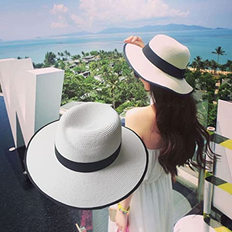 d59c7fea516 Lanzom UPF50+ Women Wide Brim Straw Panama Hat Fedora Foldable Beach Sun Hat