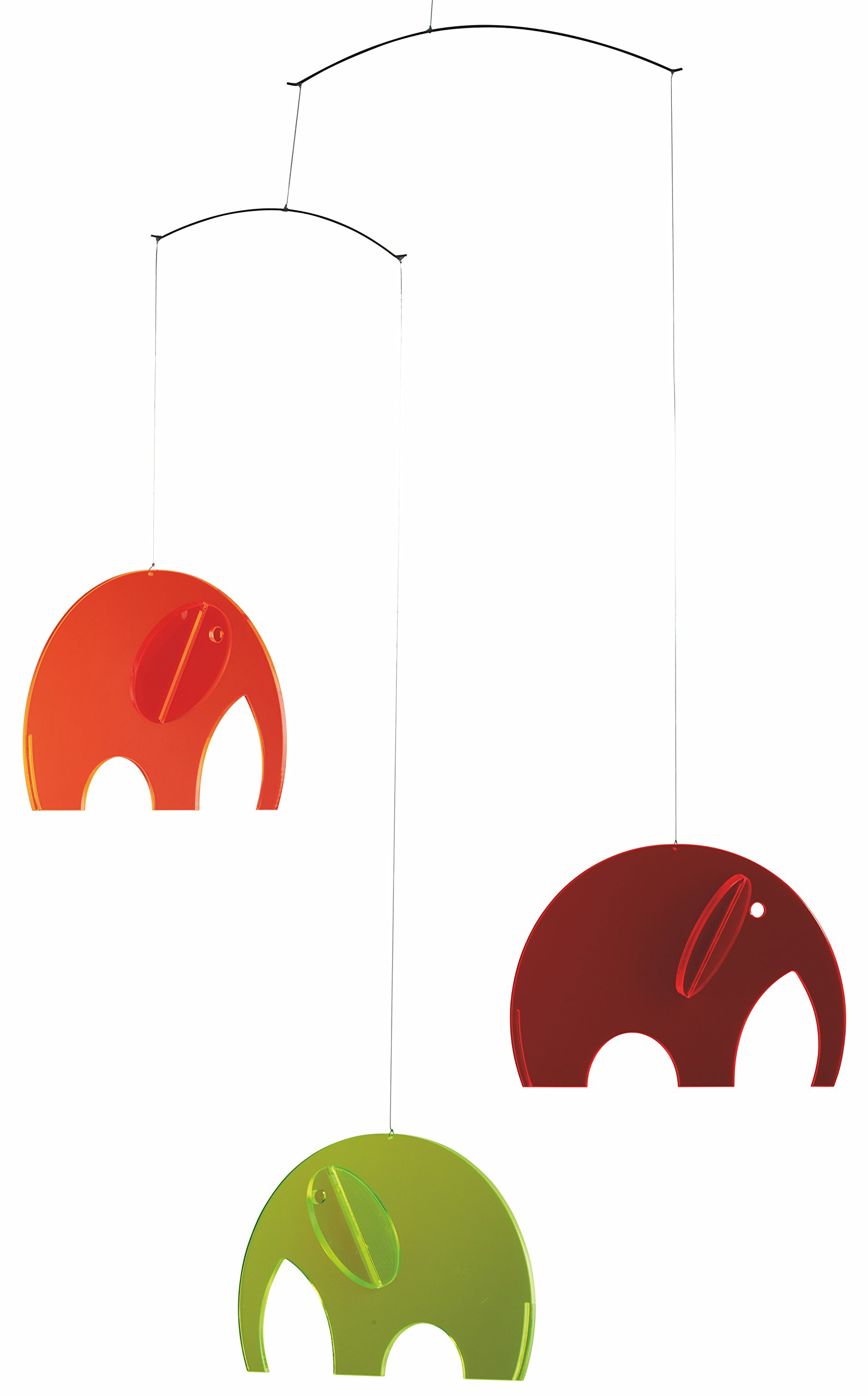 Elephant Plexi Hanging Mobile - 24 Inches Plastic - Handmade in Denmark by Flensted