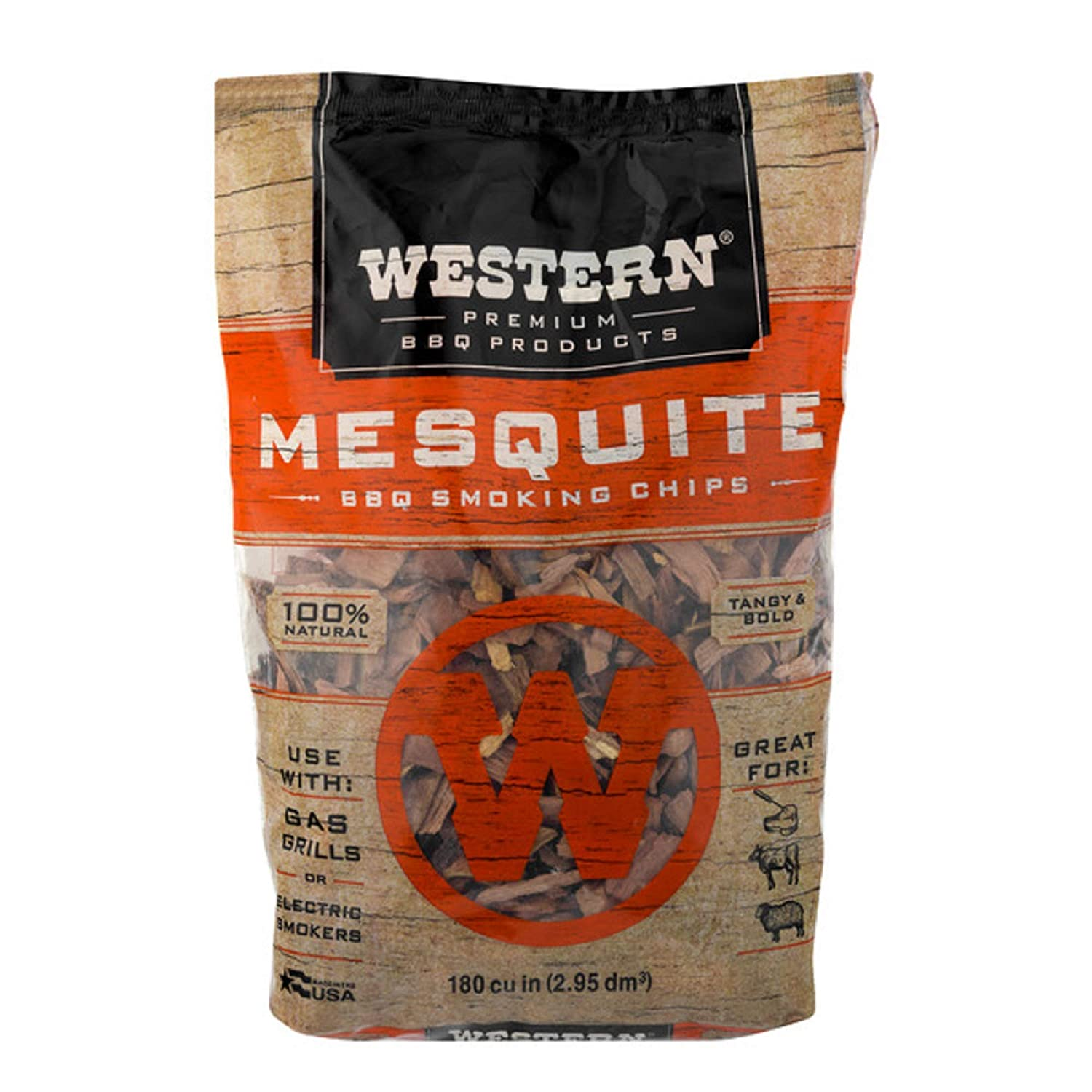 Western Premium BBQ Products Mesquite Smoking Chips, 180 cu inch