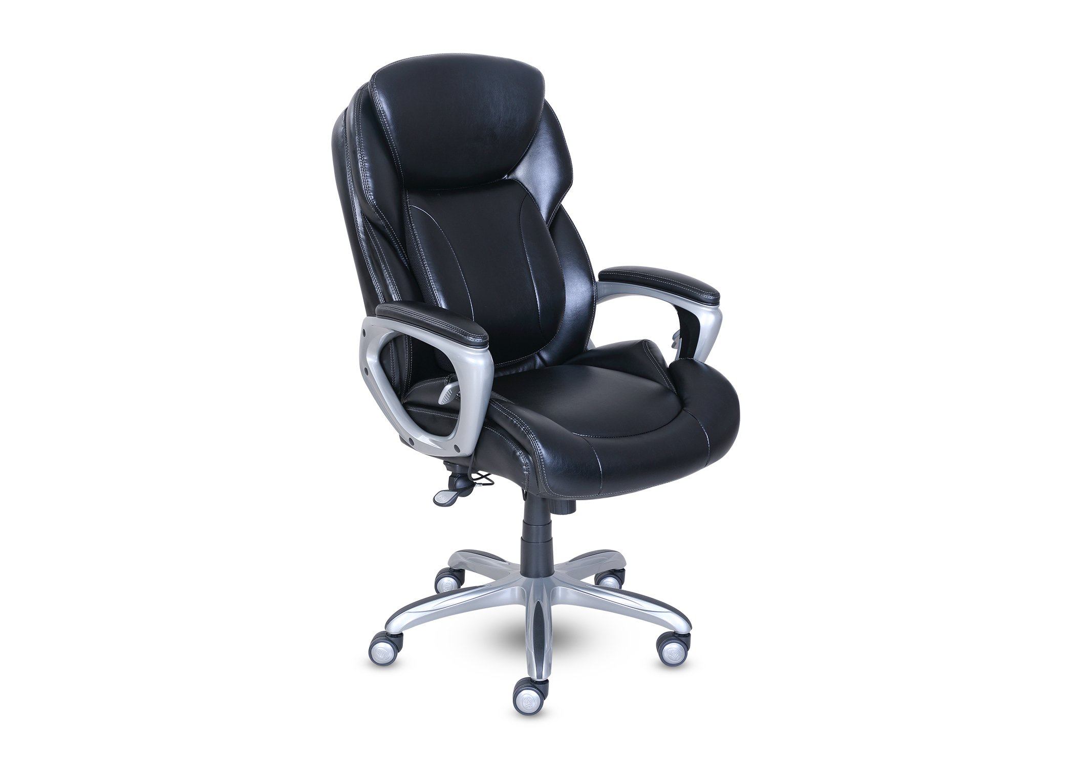 Serta Works My Fit Executive Office Chair with Tailored Reach, Brainstorm Black Bonded Leather