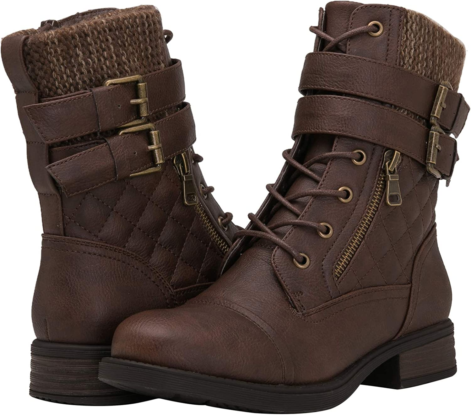 GLOBALWIN Women's Combat Boots Winter Lace Up Ankle Booties
