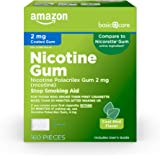 Amazon Basic Care Nicotine Polacrilex Coated Gum 2 mg (nicotine), Mint Flavor, Stop Smoking Aid; quit smoking with…