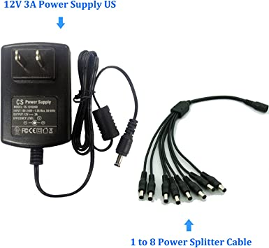 DC 12V 3A Power Supply Adapter 1 TO 8 Splitter Cable for CCTV Camera