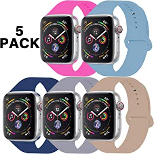 GZ GZHISY Pack 5 Sport Bands Compatible for Apple Watch Band 38mm 40mm, Soft Silicone Band Sport Strap Compatible for iWatch Series 5/4/3/2/1 (Hot Pink/Cornflower/Navy/Lavender/Walnut, S/M)