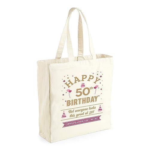 Amazon 50th Birthday 1969 Keepsake Funny Novelty Gift For Women Ladies Female Happy Shopping Bag Present Tote Idea Handmade