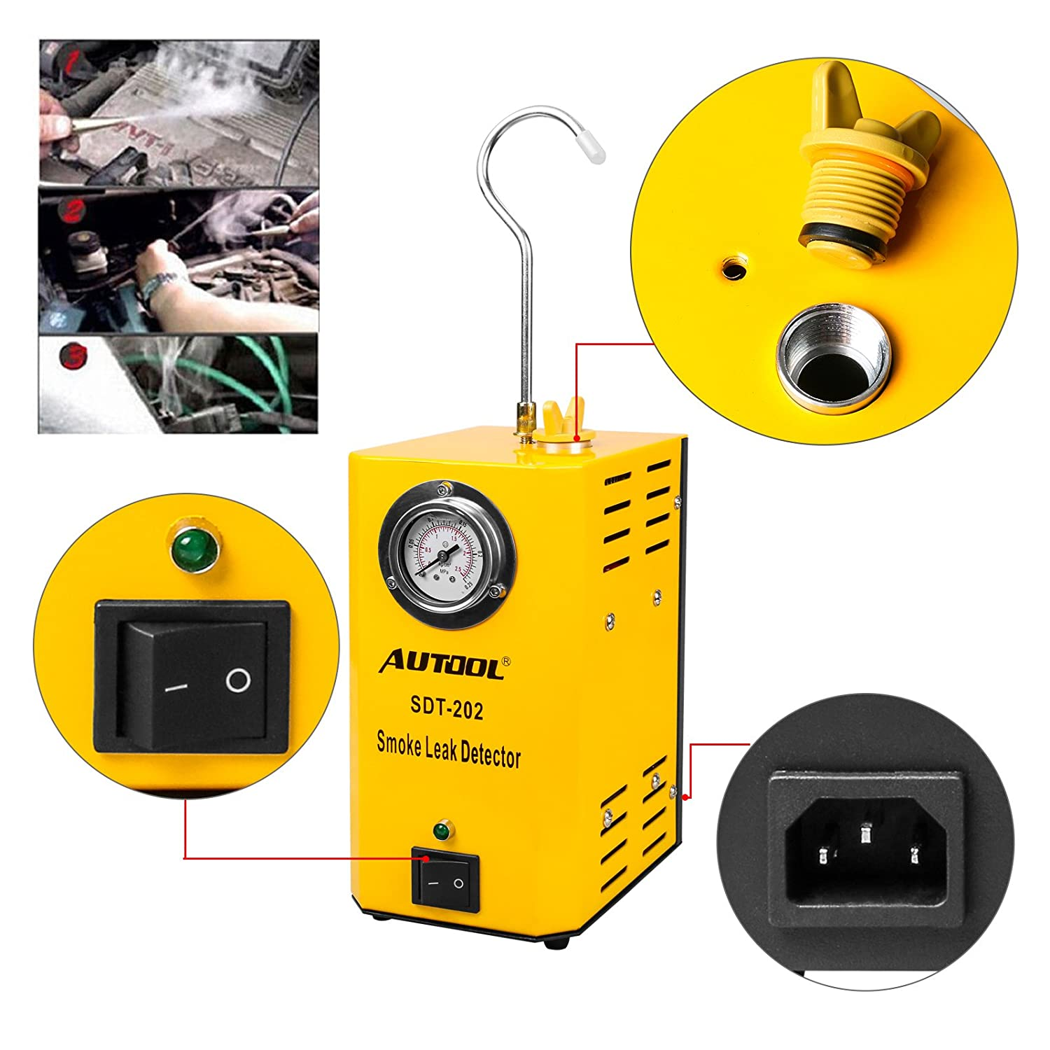 AUTOOL 12V Automotive Fuel Leak Detectors SDT-202 Cars Leak Locator Tester Car Fuel Leak Detectors SDT202 Car PIPE Leakage Tester Support EVAP For All Vehicles