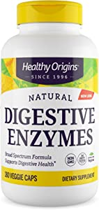 Healthy Origins Digestive Enzymes (Broad Spectrum, Non-GMO), 180 Veggie Caps, White