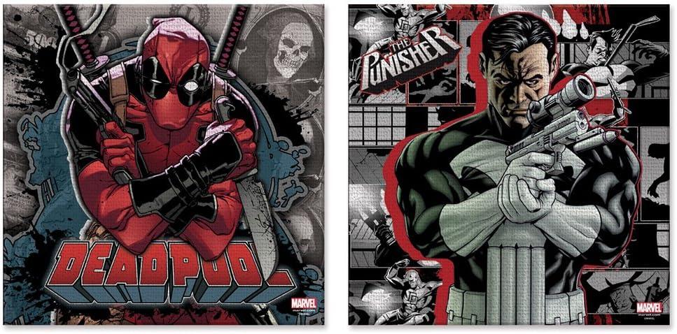 Silver Buffalo MU062Q1 Marvel Deadpool Knife and The Punisher Gun Canvas Wall Art, x 12 in, 2 Piece