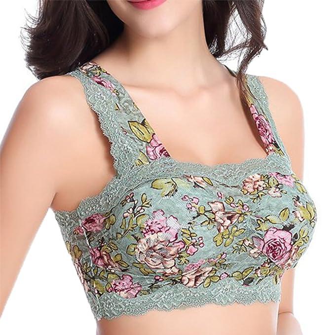 Minetom Mujeres Niñas Impresión Floral Encaje Bra Sin Costuras Yoga Fitness Sujetador Deportivo Acolchado Sujetador Tops Ropa Interior Chaleco: Amazon.es: ...