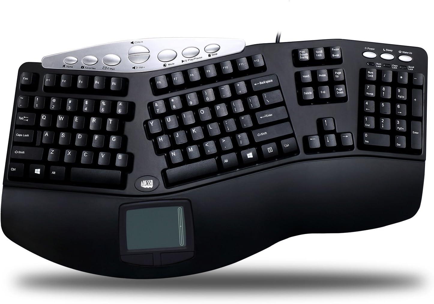 Adesso Tru-Form Pro PCK-308UB - Keyboard - PS2 - 105 keys - ergonomic - touchpad