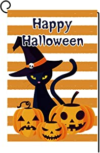 ZF Happy Halloween Trick or Treat Banner 12.5 x 18 Inch Double-Faced Linen Halloween Decor Outdoor Sign Porch Signs for Front Door Garden Office Home Party Supplies (Orange Pumpkin Ghostly Halloween)