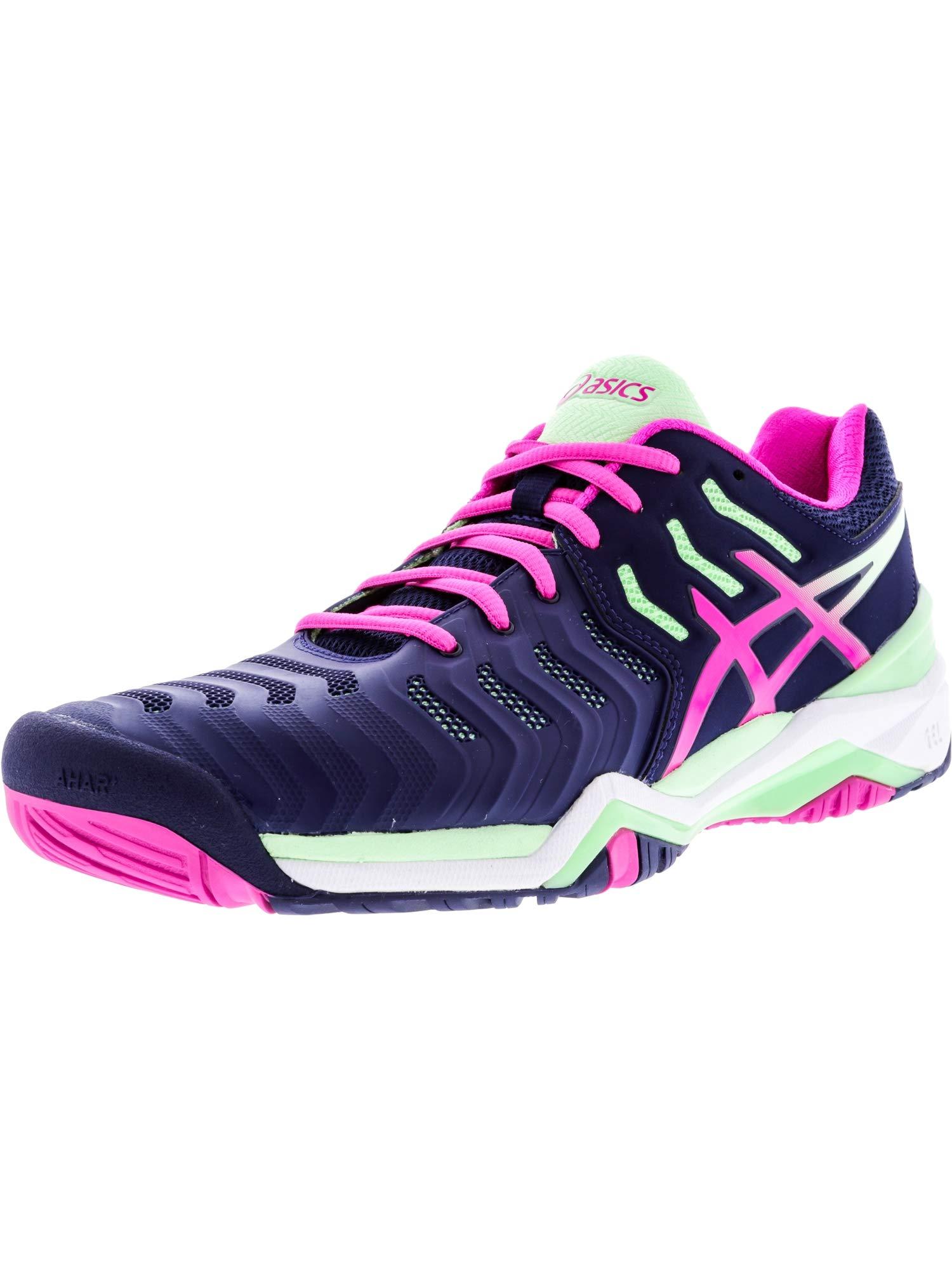 ASICS Women's Gel-Resolution 7 Tennis Shoe, Indigo Blue/Pink Glow/Paradise Green, 5 M US