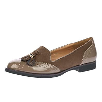 31f6fc817b3 ByPublicDemand Edwina Womens Two Tone Ladies Loafer Flat Shoes Khaki Patent    Faux Suede Size 8