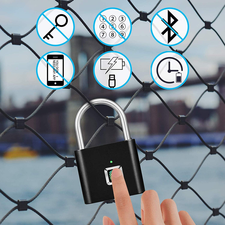 Suitcase,Bike No App School Employee Locker,Fence No Bluetooth,No Trouble Sports Fingerprint Padlock,AICase IP65 Waterproof Ultra Light One Touch Open Fingerprint Lock with USB Charging for Gym