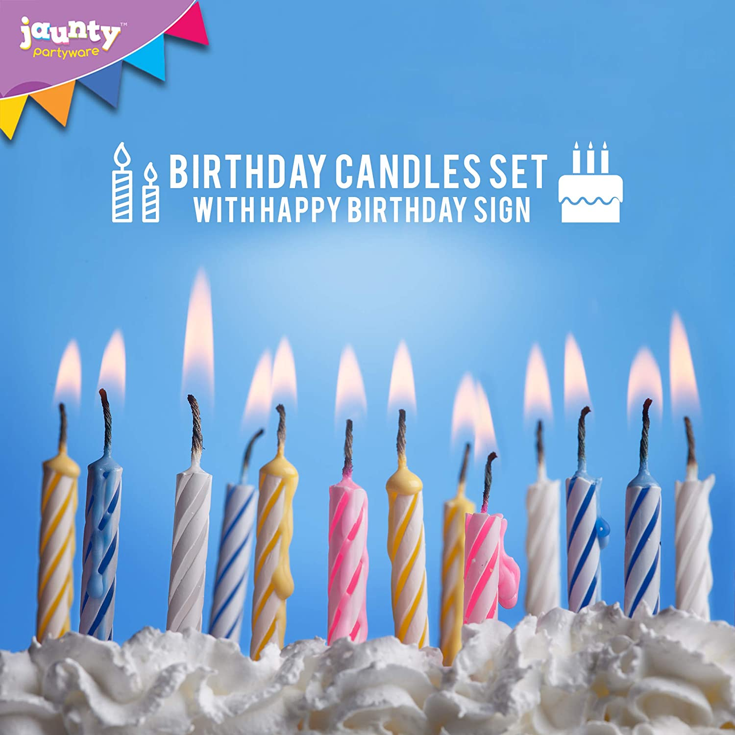 Includes 40 Birthday Candles Holders In Four Fun Colours Jaunty Partyware 40pk Happy Cake
