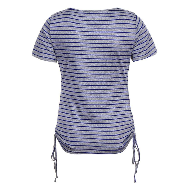 ❤ Camisas Ocasionales a Rayas para Mujer,para Mujer de Manga Corta con Cuello en V de Manga Corta Suelta Ajuste con cordón Lateral Camisas Superiores: ...