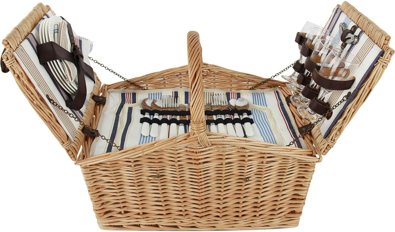 ZORMY Huntsman Willow Picnic Basket for 4 Persons with Insulated Cooler Large Wicker Picnic Basket with Service for 4
