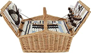 ZORMY Huntsman Willow Picnic Basket for 4 Persons with Insulated Cooler, Large Wicker Hamper Cutlery Service Kit Picnic Basket Set for Family Camping Outdoor Gift