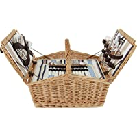 Picnic Basket Willow Hamper for 4 Persons with Insulated Cooler Bag, Large Wicker Picnic Basket with Stripe Lining…