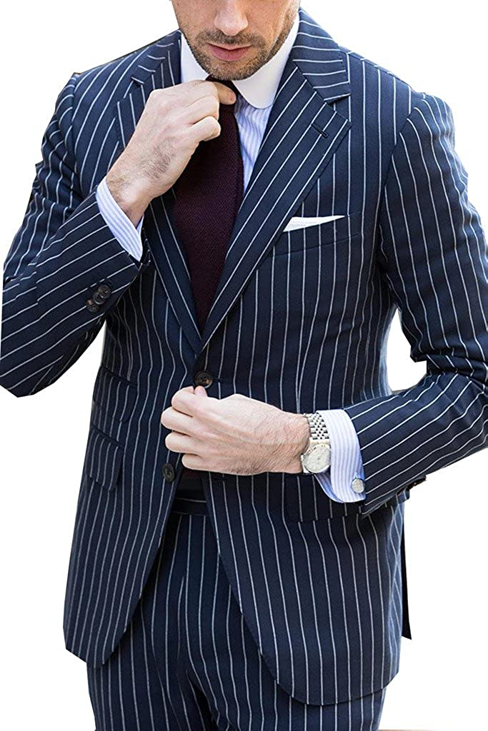 Kelaixiang 2pcs Formal Tuxedos Wedding Suit for Mens Deep Blue