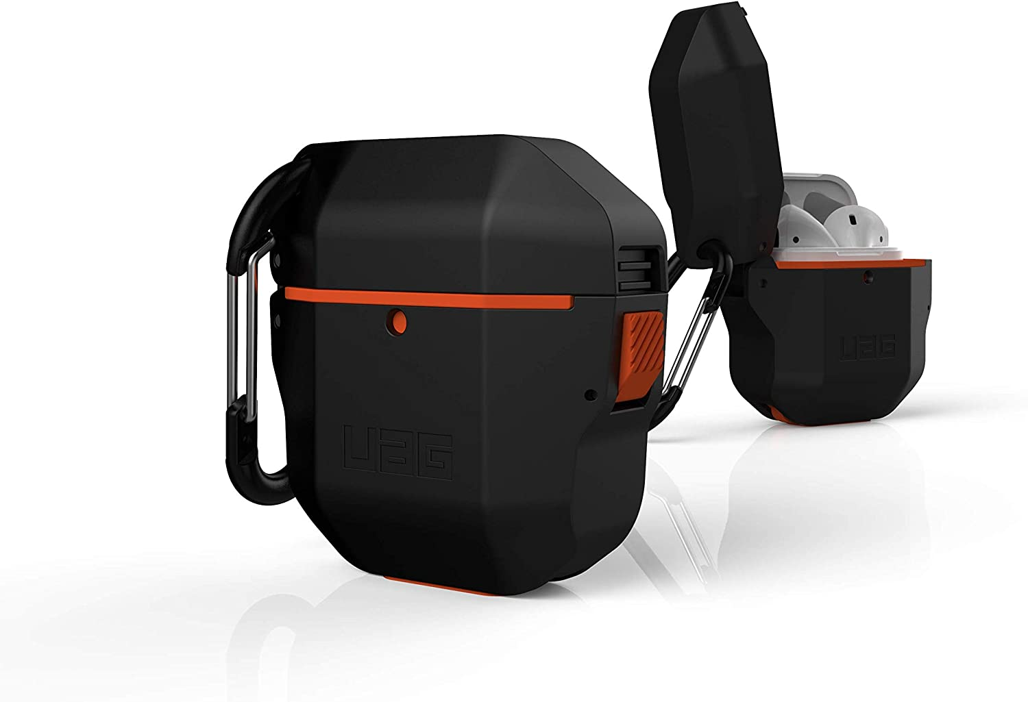 Black Full-Body Protective Rugged Water Resistant Hard TPU Case with Detachable Carabiner URBAN ARMOR GEAR UAG Compatible with AirPods 1st Gen /& 2nd Gen