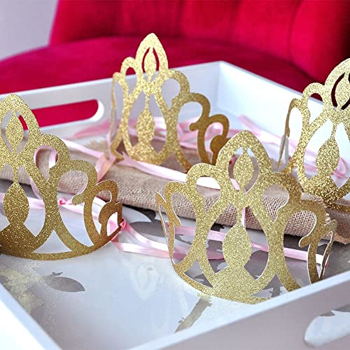 Amazon Com Pink And Gold Birthday Party Decoration Princess Crowns