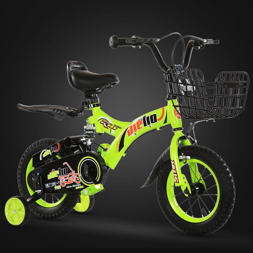 子供用自転車16インチ自転車48歳児用自転車高炭素スチールの赤ちゃんキャリッジ、青/緑 (Color : Green) B07CWMTG3X