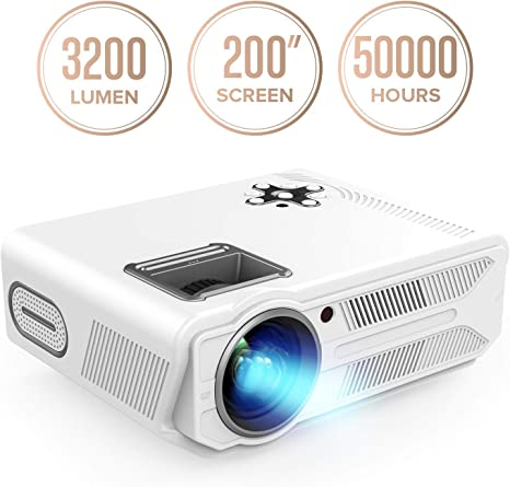 DBPOWER Projector, 3200 Lumens LCD Video Projector, Multimedia Portable Home Theater Projector Support 1080P Compatible With 2 HDMI 2 USB SD VGA AV ...