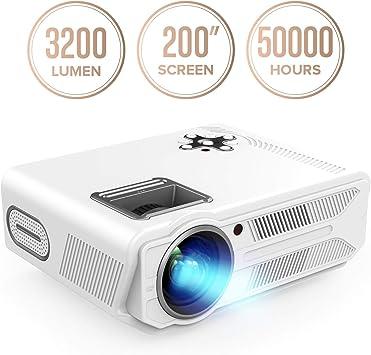 DBPOWER Proyector de 3200 lúmenes y 5,8 pulgadas, LCD, proyector ...