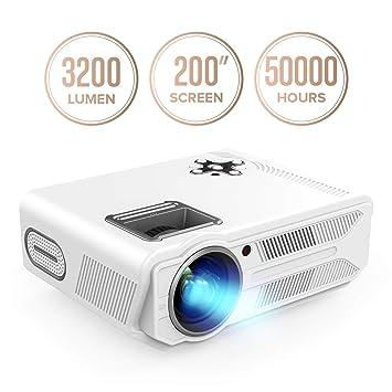 DBPOWER Proyector de 3200 lúmenes y 5,8 pulgadas, LCD, proyector multimedia para cine en casa, compatible con 1080P de Video Casero, para cine en ...