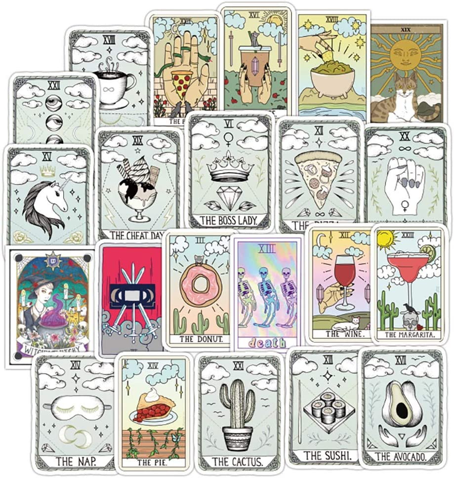 Water Bottle Tarot Stickers Laptop Astrology Stickers Divination Stickers Pack 50 Pcs Decals for Water Bottle Laptops Ipad Cars Luggages