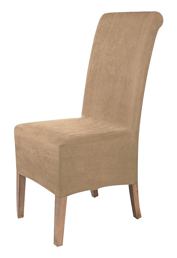 SCHEFFLER-Home Leon 2 Fundas de sillas, Estirable Cubiertas, Polipiel extraíble flexibel Funda con Banda elástica, Beige