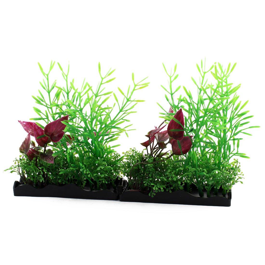 sourcing map Pecera acuático Planta Rectangular de plástico césped Verde Ornamento Púrpura 2pcs: Amazon.es: Productos para mascotas