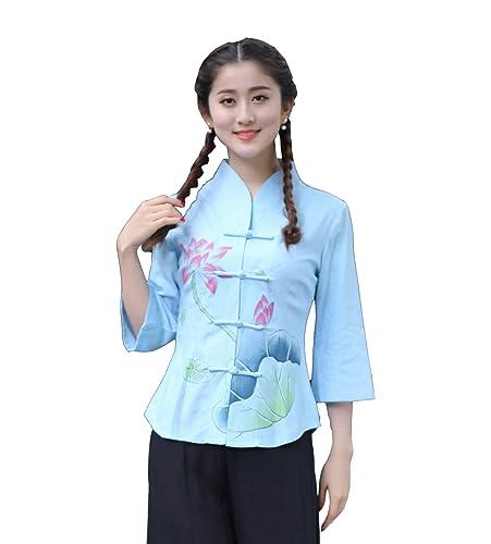 YueLian Mujeres Verano Manga 3/4 Patrón de Loto Elegante Han Ropa China Saco Cárdigan Chino Azul Celeste