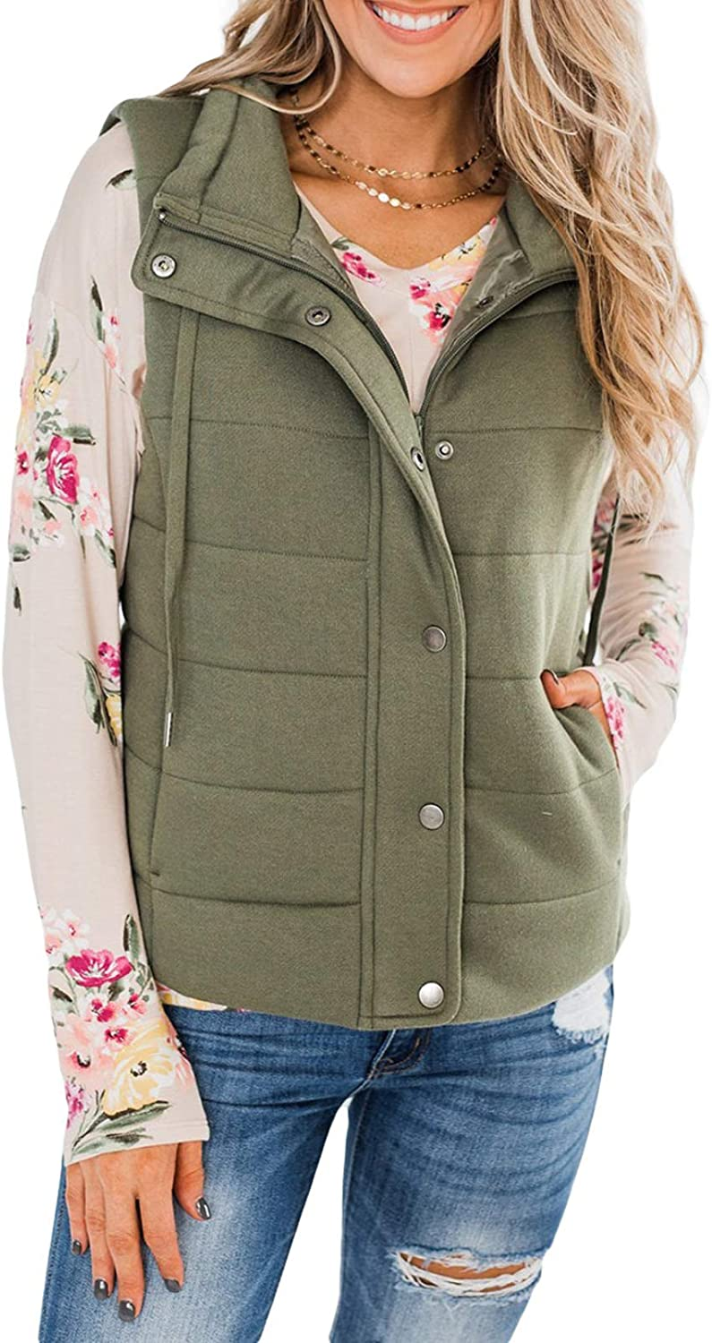 Biucly Women's Button Zipper Vest, Stand Collar Quilted Gilet with Pockets