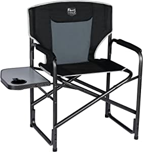 TIMBER RIDGE Director's Chair Folding Aluminum Camping Portable Lightweight Chair Supports 300lbs with Side Table Outdoor(Black)