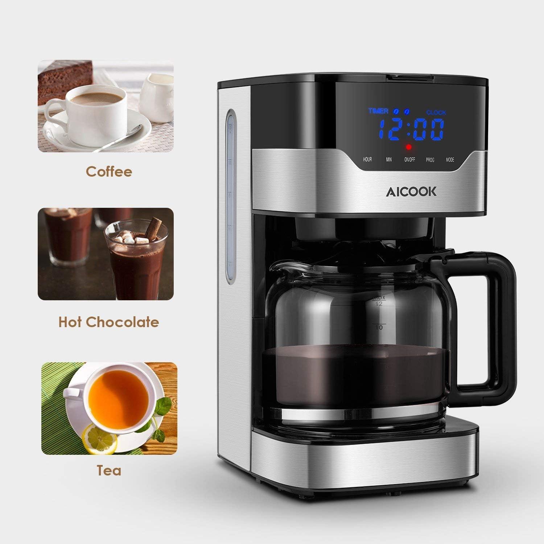 Aicook - Cafetera con pantalla táctil (12 tazas, programable ...