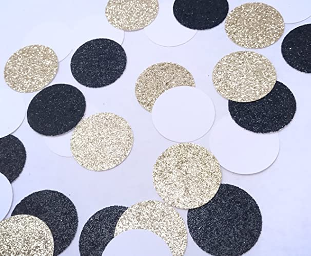 Black Gold White Confetti Glitter And Party Birthday Graduation Table Scatter Round Paris