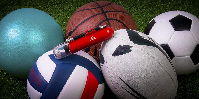 etc. voleibol pelota de pilates bola de yoga Bomba de bolas de doble acci/ón con 5 agujas de repuesto y adaptador de bola de yoga de pl/ástico para tu f/útbol balonmano baloncesto f/útbol