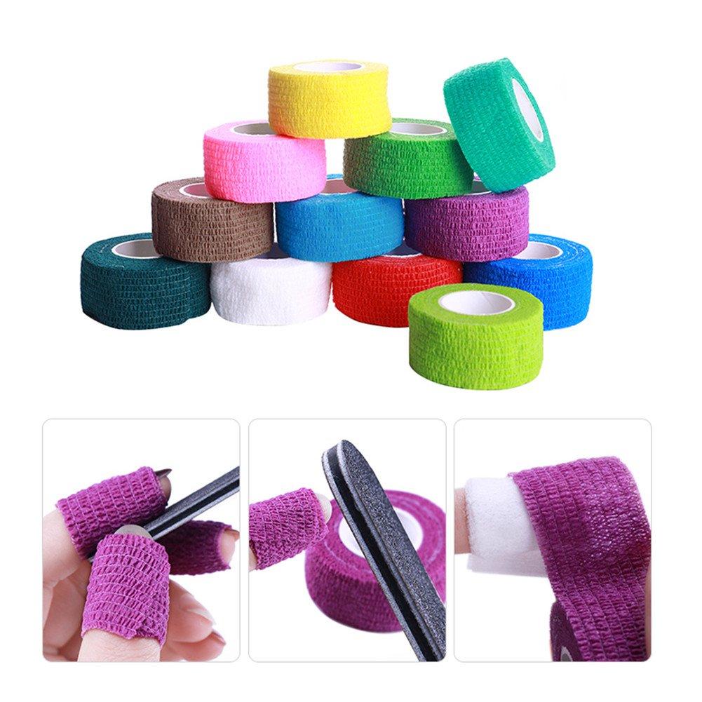 NICOLE DIARY 5 Rolls Nail Remover Bandage Adhesive Nail Art Gel Polish Remove Wrap Protective Tape Skin Care Finger Stripe Manicure Nail Art Tools (Random Colors) by NICOLE DIARY
