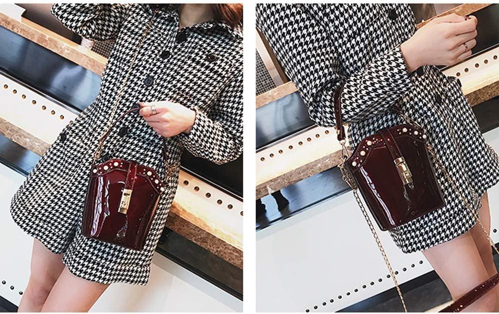 Teng Peng Womens Fashion Bucket Bag Patent Leather Rivet Shoulder Bag Shoulder Bag Wild Chain Messenger Bag Handbag Messenger Bag Color : A, Size : 20X18X9cm