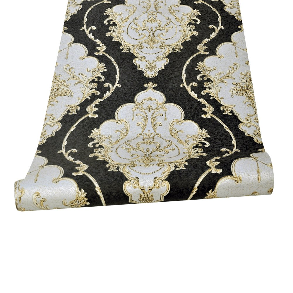 HaokHome 360207 Luxury Heavy Texture Victorian Damask Wallpaper Black/Gold/Brown/Silver for Home Accent Wall 20.8''x 31ft by HAOKHOME (Image #4)