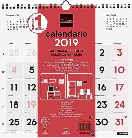 Finocam 780570019 - Calendario de pared 2019: Amazon.es: Oficina y ...