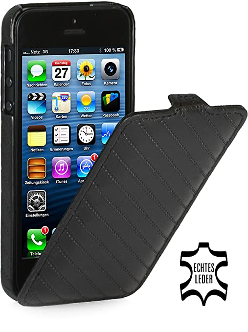44 opinioni per Stilgut UltraSlim- Custodia pieghevole in vera pelle per Apple iPhone 5, 5s &