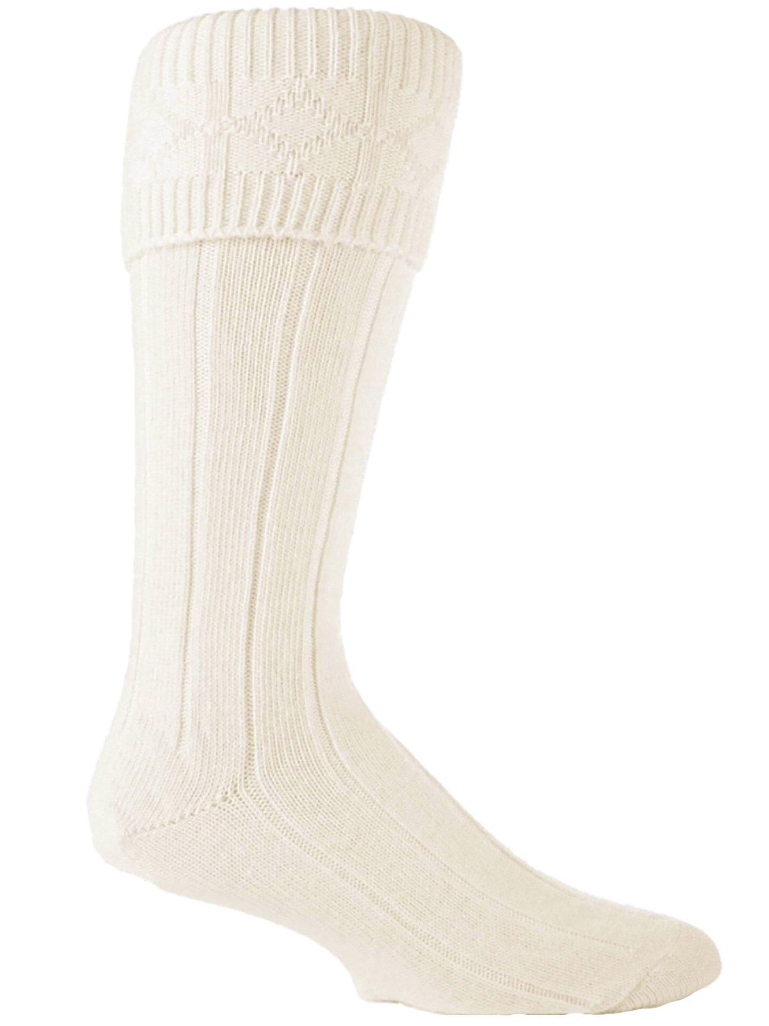 1 Pairs Mens wool Rich wedding ceremonial Scottish Cream Kilt Socks 7-12 us